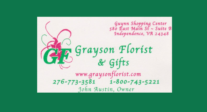 Picture of grayson florist business card